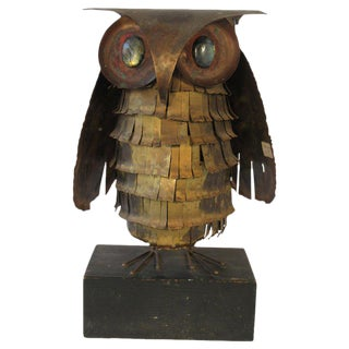 1966 Jere Brass Owl With Stone Eyes For Sale