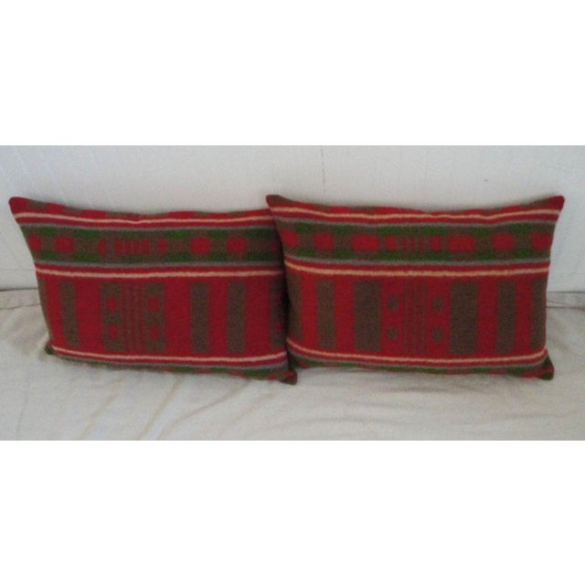 Primitive 19th Century Horse Blanket Bolster Pillows For Sale - Image 3 of 5