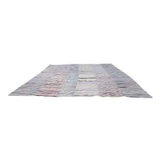 1970s Vintage Kilim Rug Handwoven Striped Carpet - 12′10″ × 16′1″ For Sale
