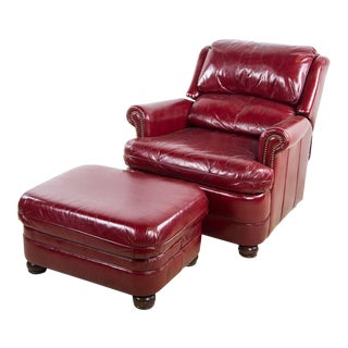 1980s Traditional Bradington-Young Oxblood Red Leather Recliner Arm Chair With Ottoman - a Pair
