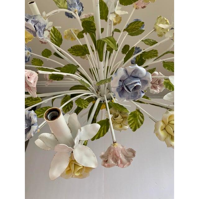 Vintage Ca 1950s Italian Tole 6 Arms Chandelier & Porcelain Rosebuds Flowers For Sale - Image 9 of 13