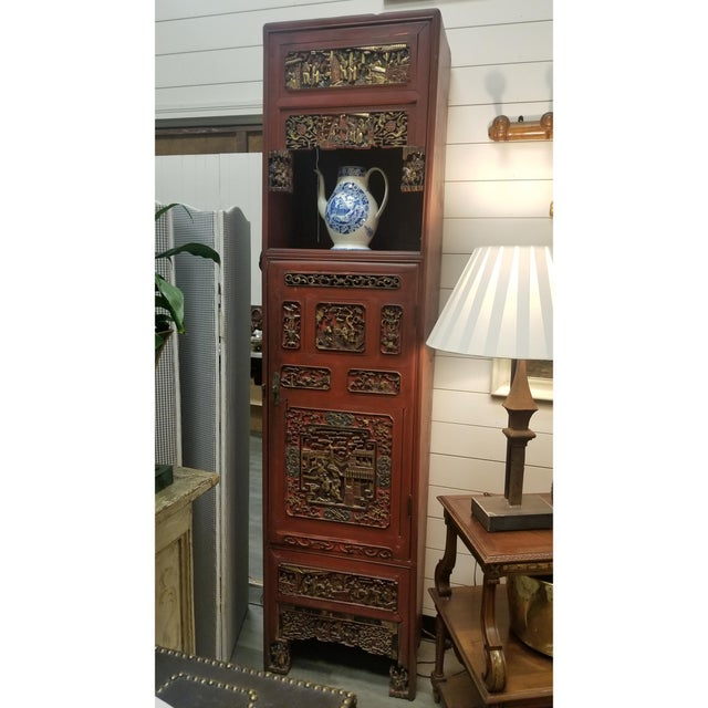 Chinese Carved, Painted, and Gilt Decorated Cabinet For Sale - Image 4 of 5