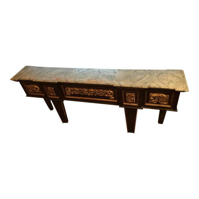 Antique Narrow Neoclassical Italian Console Table For Sale