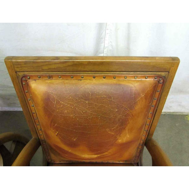 Carved Wood & Leather Lounge Chairs For Sale - Image 6 of 12