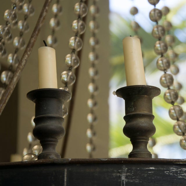 Mid 19th Century French Iron and Glass Bead Candle Chandelier, Circa 1850 For Sale - Image 5 of 6