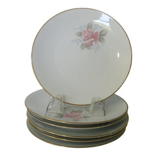 Vintage 1961-73 Noritake Roseville China Pink Rose With Blue Flower Accent Luncheon Salad Plates - Set of 6 For Sale