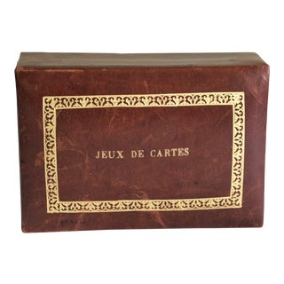 Vintage French Leather Playing Card Box For Sale