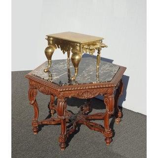 Antique Victorian Brass Coachman's Footstool Footman Stool Trivet Stand W Handles Preview