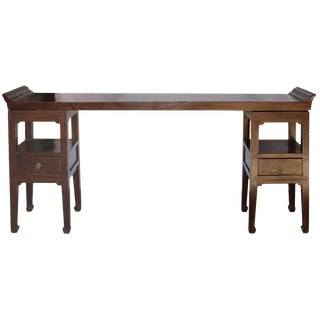 19th Century Asian Antique Three-Piece Elm Console Table For Sale
