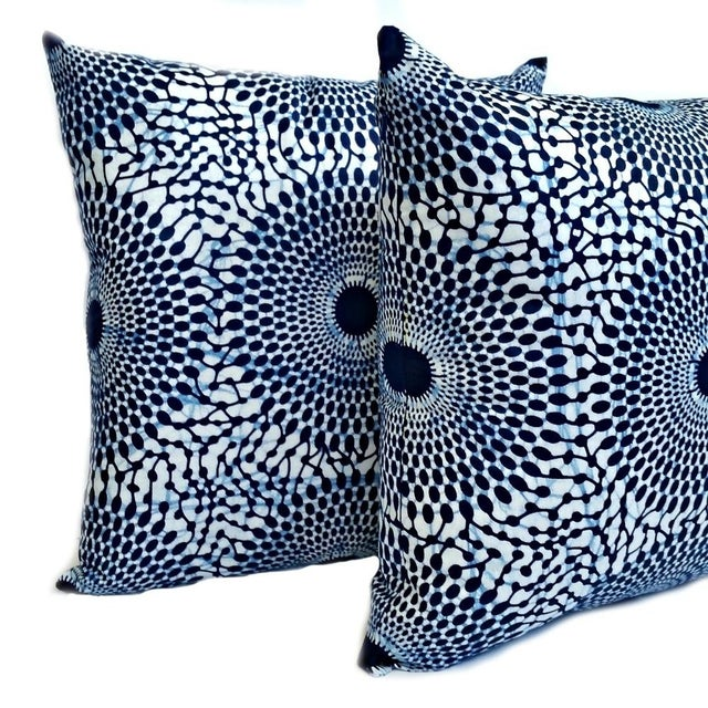 Blue Iris African Wax Print Pillow Covers - A Pair - Image 2 of 4