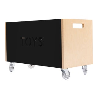 Toy Box Chest on Casters in Birch With Black Finish For Sale