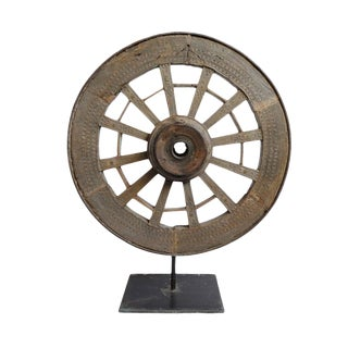 Antique Ox Cart Wheel on Stand For Sale