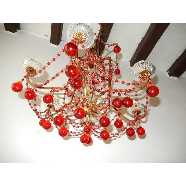 French Red Murano Ball and Chains Chandelier, circa 1940 For Sale - Image 4 of 11