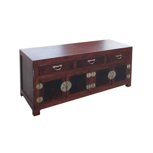 Oriental Elm Burlwood Low TV Stand Cabinet For Sale - Image 5 of 5