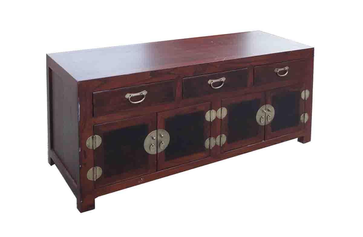 Merveilleux Oriental Elm Burlwood Low TV Stand Cabinet For Sale   Image 5 Of 5