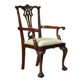 Gothic Chippendale Arm Chair For Sale