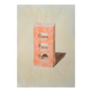 Yellow and Orange Brick, Hand-Painted Watercolor on Paper by Artist Ryan Rivadeneyra, 40x28 In. (100x70cm), 2020 For Sale