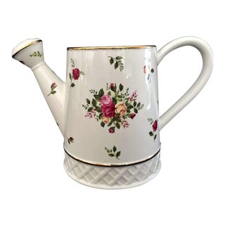 1960's Royal Albert Old Country Roses Watering Pail Planter For Sale