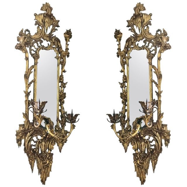 Gold Giltwood Mirrored Wall Sconces For Sale - Image 8 of 8