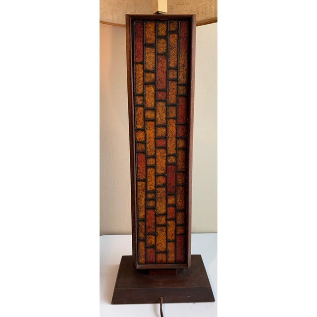 Red 1960s Mosaic Style Wood Lamp Mid Century Modern Retro Lighting For Sale - Image 8 of 10