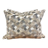 "Image of Kravet Couture ""Modern Mosaic Sandstone"" 16""x20"" Pillows-A Pair For Sale"