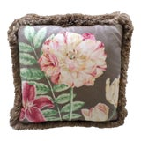 Image of Brown Feather Pillow With Flowers & Chinese Vase Design For Sale