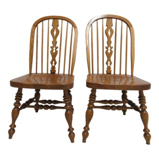 Pair of Ethan Allen Dining Room Chairs Windsor Back Charter Oak Jacobean