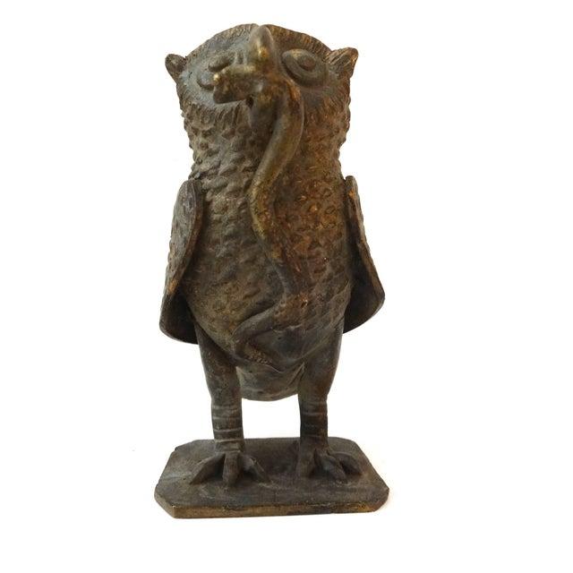 Bronze African Ashanti Akan Sculpture - Owl - Image 5 of 5