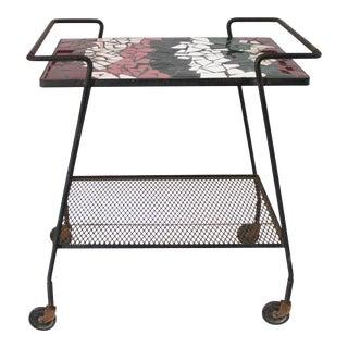 1960s Mid-Century Modern Mosaic Tile Top Bar Cart For Sale