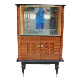 Monumental French Art Deco Macassar Ebony Dry Bar Cabinet 1940's