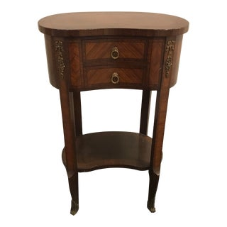 French Single Drawer Demilune Occasional End Table For Sale