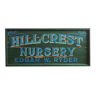 Vintage Hand Painted Nursery Sign For Sale