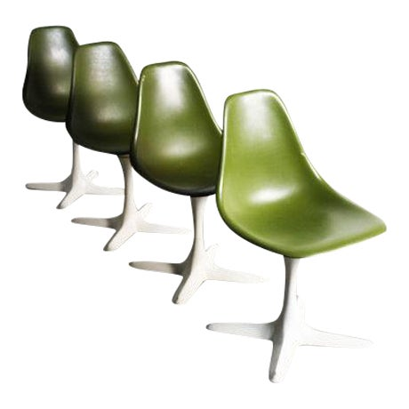 Avocado Green Burke Dining Chairs - Set of 4 - Image 1 of 5