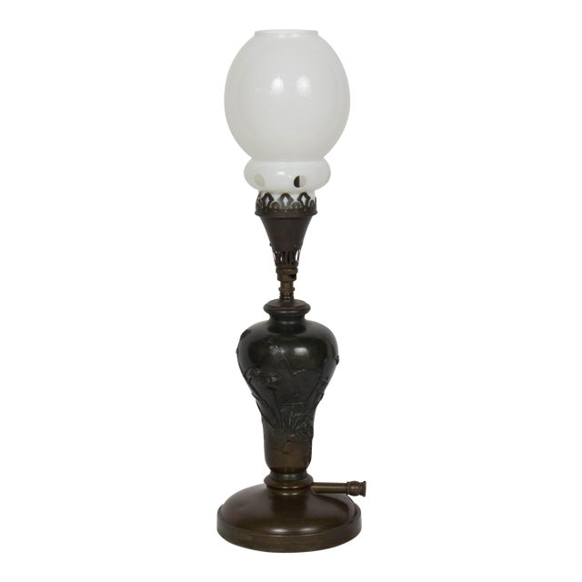 Mid 19th Century Vintage Meiji Japanese Bronze Gas Lamp For Sale