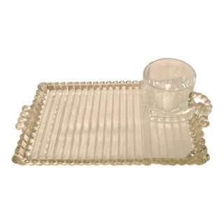 Vintage Glass Snack Plate & Tea Set For Sale