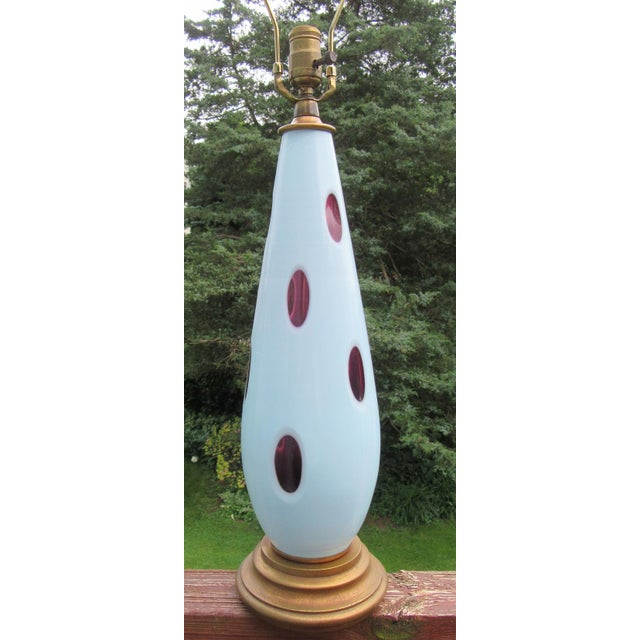 1970s Mid-Century Modern Pale Blue Cut Murano Glass Lamp For Sale - Image 4 of 9