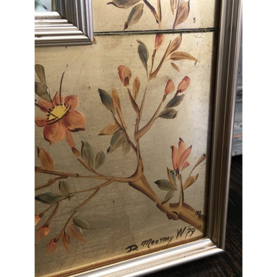 Gorgeous vintage reverse painted wall mirror by La Barge. This beautiful mirror features a gold leaf reverse painting on...