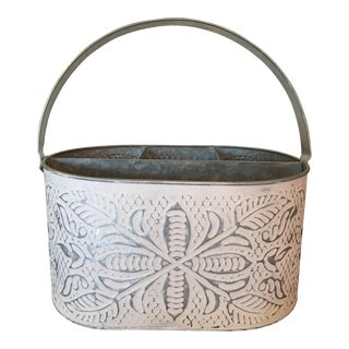 Late 20th Century Americana Galvanized Metal Distressed White Caddy Container Planter Basket