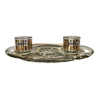 Mid 20th Century Mid-Century Modern Crystal Cocktail Bar Set - Set of 3 For Sale