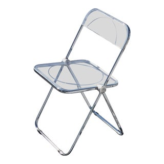 1970s, 'Plia' Stacking/Folding Chairs by Giancarlo Piretti for Castelli — Clear For Sale