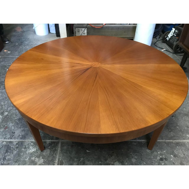 Cherry Wood Round Coffee Table by Baker For Sale - Image 9 of 10