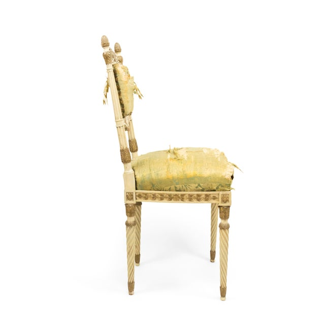 Silver Italian Neoclassic Silk Upholstery Chairs For Sale - Image 8 of 11