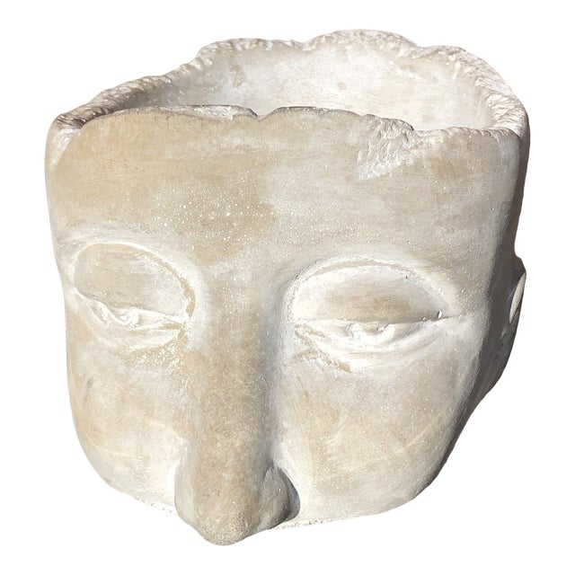 20th Century Figurative Clay Head With Face Planter For Sale