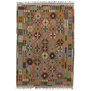 Afghan Kilim Hand Spun Wool Rug - 6′8″ × 9′7″ For Sale