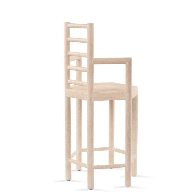 Tamarisk Counter Stool in Whitewashed Oak For Sale - Image 4 of 5