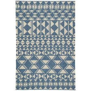 Jaipur Living Botella Indoor/ Outdoor Geometric Blue/ Cream Area Rug - 7′6″ × 9′6″ For Sale
