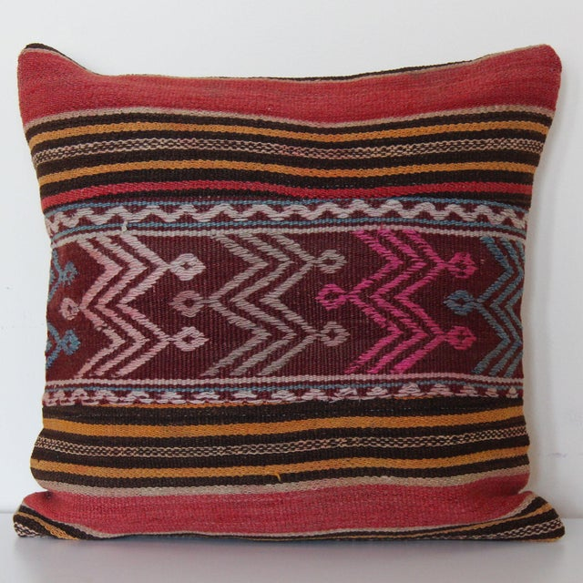 Turkish Wool Kilim Pillowcase For Sale In Chicago - Image 6 of 6