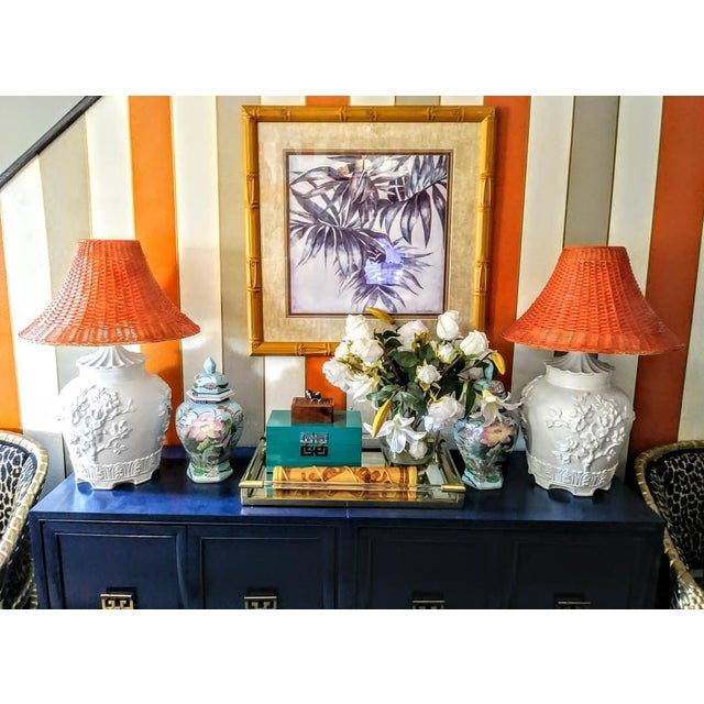 Wicker A Pair Vintage Floral Gloss White Large Pagoda Table Lamps W/Bright Orange Wicker Shades For Sale - Image 7 of 10