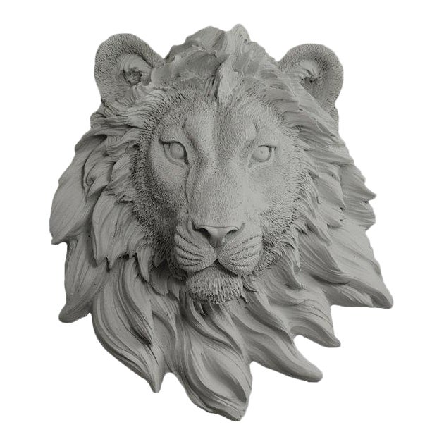 Wall Charmers Gray Faux Taxidermy Lion Head Mount - Image 1 of 3