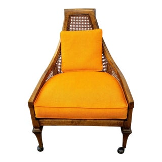1950s Vintage Adrian Pearsall Cane Back Upholstered Chair For Sale